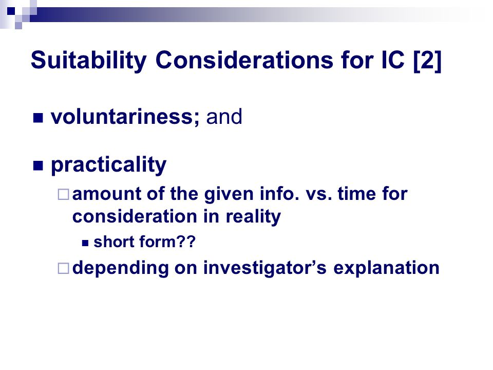 Suitability Considerations for IC [2]